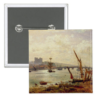Rochester Cathedral and Castle, c.1820-30 (oil on 15 Cm Square Badge