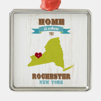 Rochester, New York Map – Home Is Where The Heart Silver-Colored Square Decoration