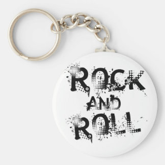 Rock and Roll Basic Round Button Key Ring