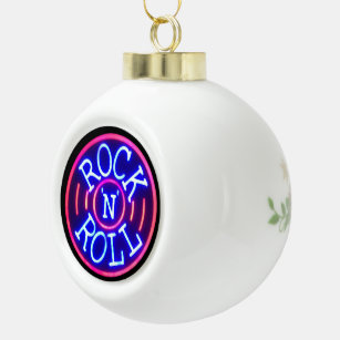 rock and roll ceramic ball christmas ornament