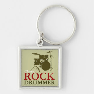 rock and roll drummer Silver-Colored square key ring
