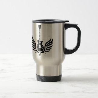 rock and roll electric guitar wings stainless steel travel mug
