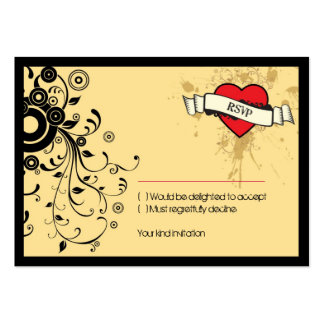 Rock and Roll Grungy Heart (Brown) RSVP Card Pack Of Chubby Business Cards