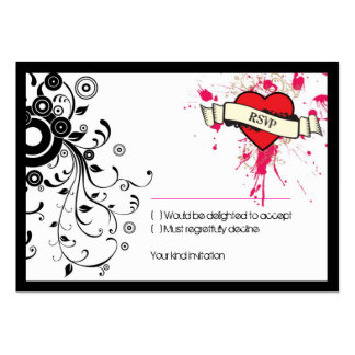 Rock and Roll Grungy Heart (Pink) RSVP Card Pack Of Chubby Business Cards