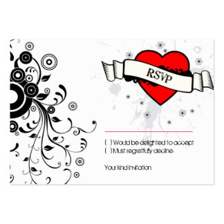 Rock and Roll Grungy Heart (Red) RSVP Card Pack Of Chubby Business Cards