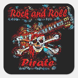 Rock and Roll Guitar Pirate Skull Square Sticker
