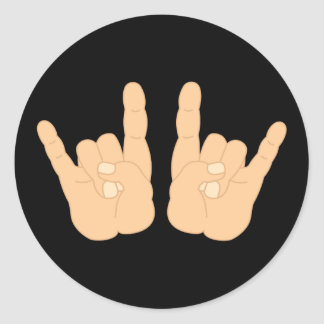 Rock and Roll Hand Sign Round Sticker