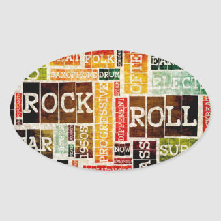 Rock and Roll Music Poster Art as Background Oval Sticker