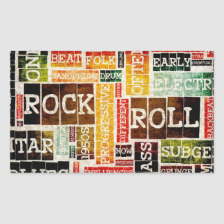 Rock and Roll Music Poster Art as Background Rectangular Sticker
