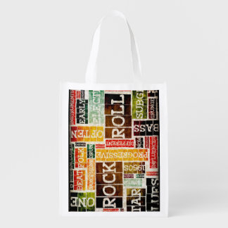 Rock and Roll Music Poster Art as Background Reusable Grocery Bag