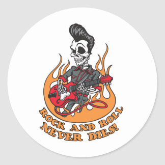 Rock And Roll Never Dies Skeleton Guitar Round Sticker