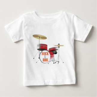 rock and roll red drums baby T-Shirt