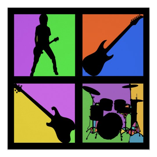 ROCK AND ROLL RETRO SQUARES POSTER