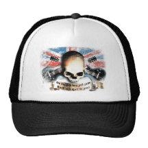 rock and roll skull flag and guitars baseballcaps