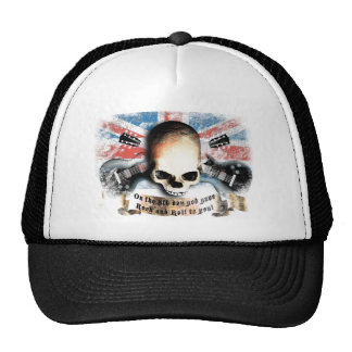 rock and roll skull flag and guitars cap