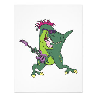 rock and roll t-rex cartoon full color flyer