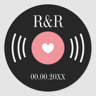 Rock and roll vinyl record wedding favor sticker