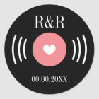 Rock and roll vinyl record wedding favour sticker