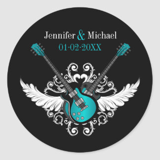 Rock and Roll Wedding Guitars Teal Black stickers