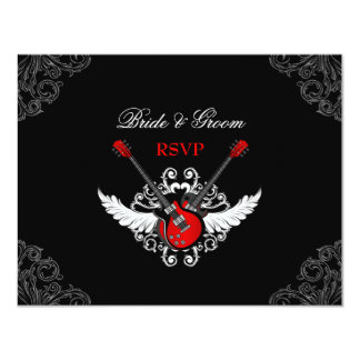 Rock and Roll Wedding RSVP card Announcement