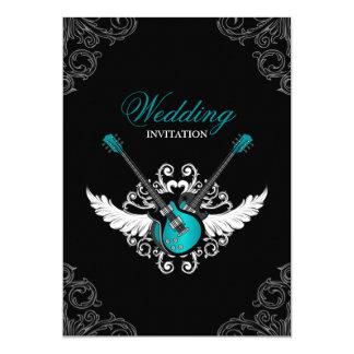 Rock and Roll Wedding Teal Black invitation