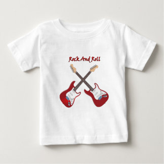 Rock and roll with two white red electric guitars baby T-Shirt