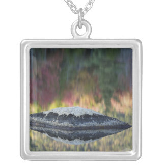 Rock and tree reflection, Lily Pond, White Silver Plated Necklace