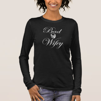 Rock Bad Wifey Skull Relaxed Fit 3/4 Sleeve Shirt