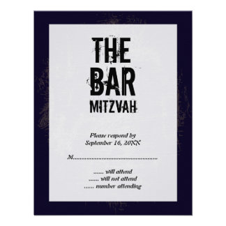 Rock Band Bar Mitzvah Reply Card Invites