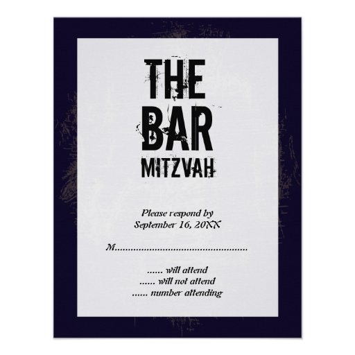 Rock Band Bar Mitzvah Reply Card Invites