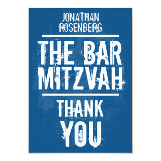 Rock Band Bar Mitzvah Thank You In Blue - All Type 13 Cm X 18 Cm Invitation Card