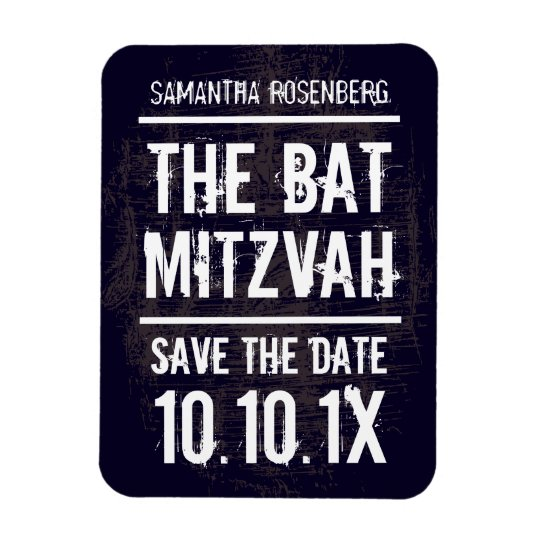 Rock Band Bat Mitzvah Save the Date Magnet, Black Rectangular Photo Magnet