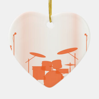 Rock Band Equipment On Stage Ceramic Heart Decoration