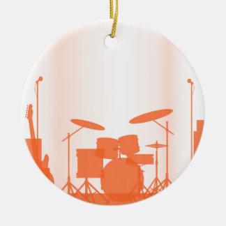 Rock Band Equipment On Stage Round Ceramic Decoration
