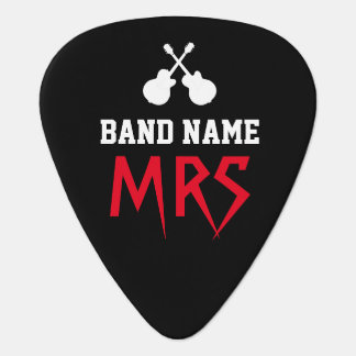 rock band name & guitarist initials black plectrum