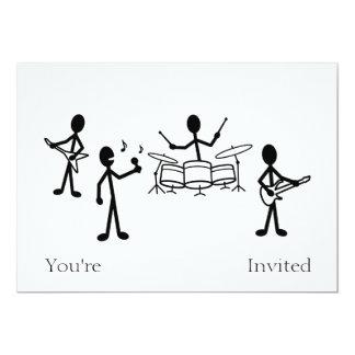 Rock Band Stick Figure 13 Cm X 18 Cm Invitation Card