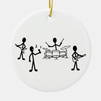 Rock Band Stick Figure Round Ceramic Decoration