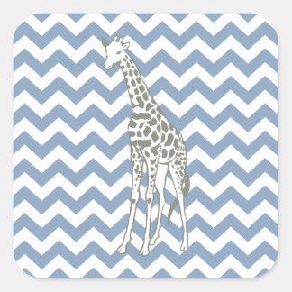 Rock Blue Safari Chevron with Pop Art Giraffe Square Sticker