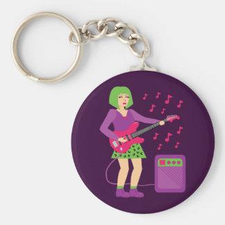Rock Chick Basic Round Button Key Ring
