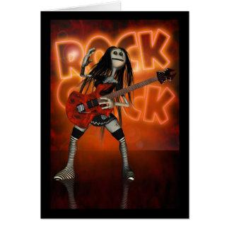 Rock Chick Birthday Card Moonies rag doll rocker