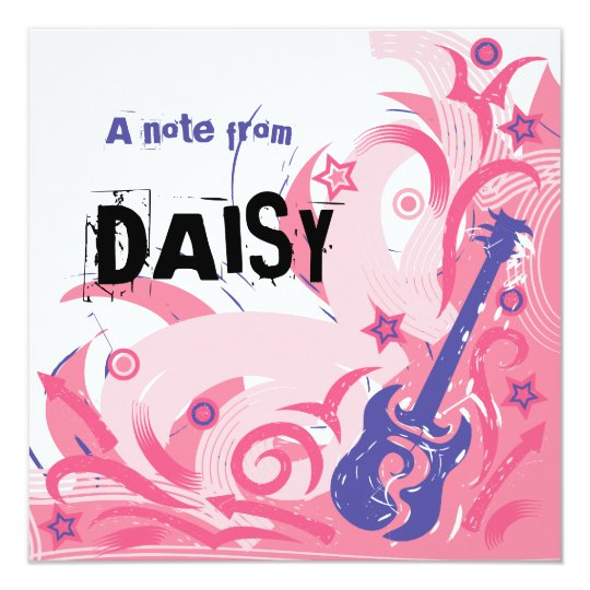 Rock Chick guitar party thank you note card