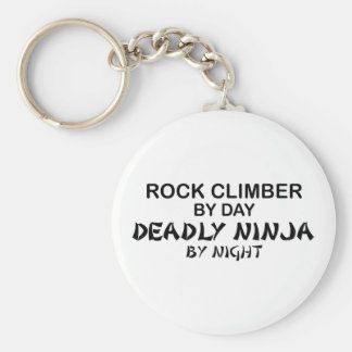 Rock Climber Deadly Ninja by Night Basic Round Button Key Ring