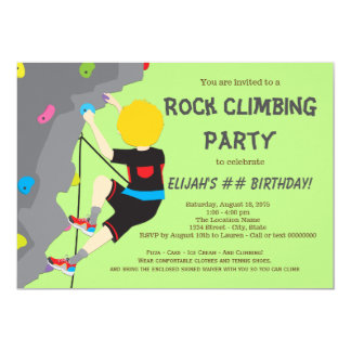 Rock Climbing Birthday Party Boy Invitations