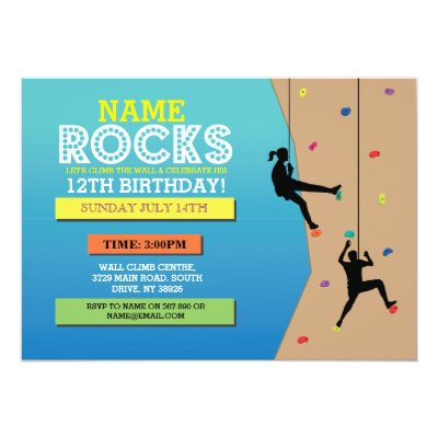 Cool Wall Rock Climbing Birthday Party Invitations Zazzlecouk - Birthday party invitations rock climbing