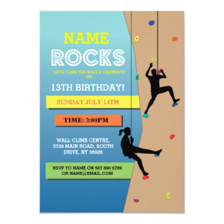 Rock Climbing Birthday Party Wall Climbing Invite