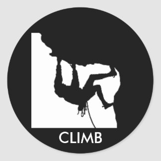 rock climbing classic round sticker