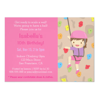 Rock Climbing Girls Birthday Party Invitations