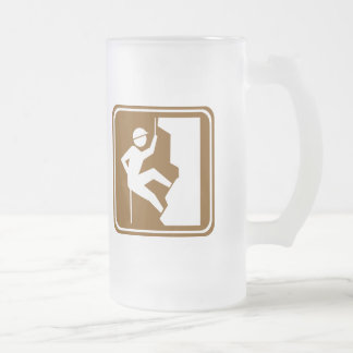 Rock Climbing Highway Sign Frosted Glass Beer Mug