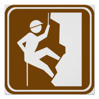 Rock Climbing Highway Sign Poster