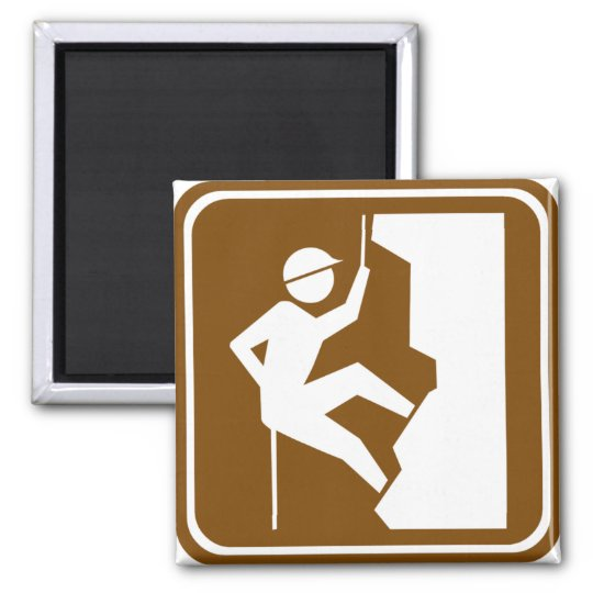 Rock Climbing Highway Sign Square Magnet